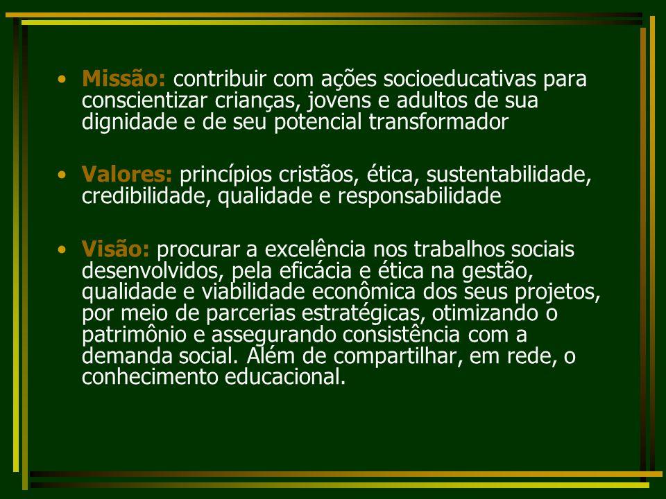 Missão: contribuir com ações socioeducativas para conscientizar crianças, jovens e adultos de sua dignidade e de seu potencial transformador Valores:
