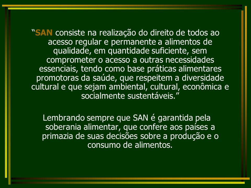 SAN consiste na realização do direito de todos ao acesso regular e permanente a alimentos de qualidade, em quantidade suficiente, sem comprometer o ac