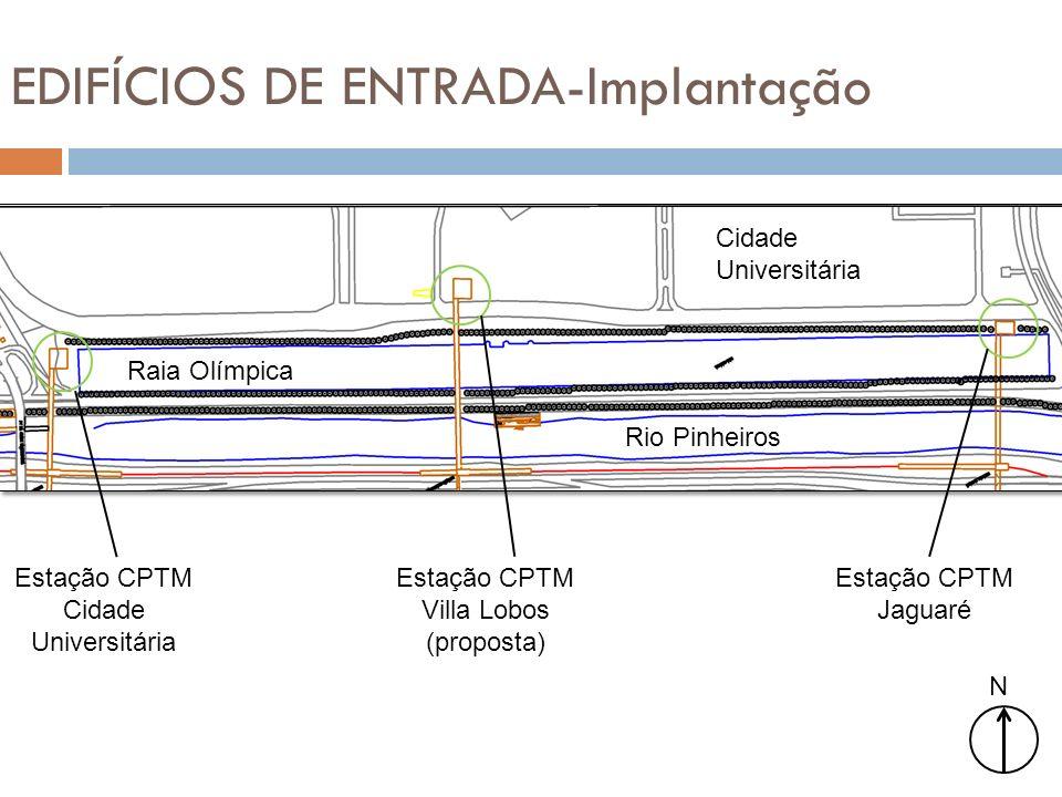 EDIFÍCIOS DE ENTRADA-Implantação N Cidade Universitária Raia Olímpica Rio Pinheiros Estação CPTM Cidade Universitária Estação CPTM Villa Lobos (propos