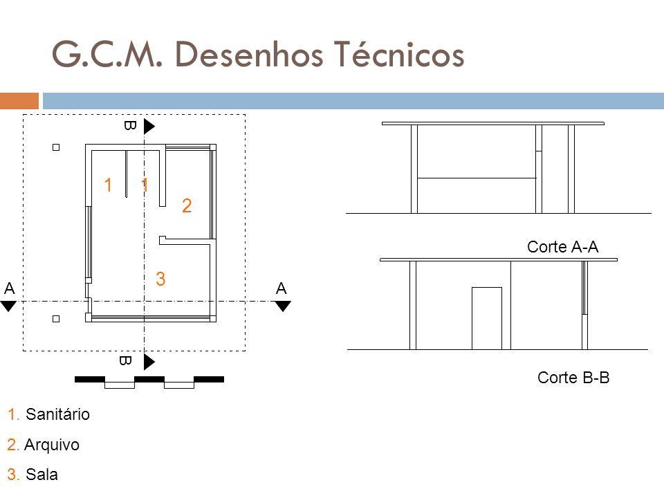 G.C.M. Desenhos Técnicos A A B B Corte A-A Corte B-B 11 2 3 1. Sanitário 2. Arquivo 3. Sala