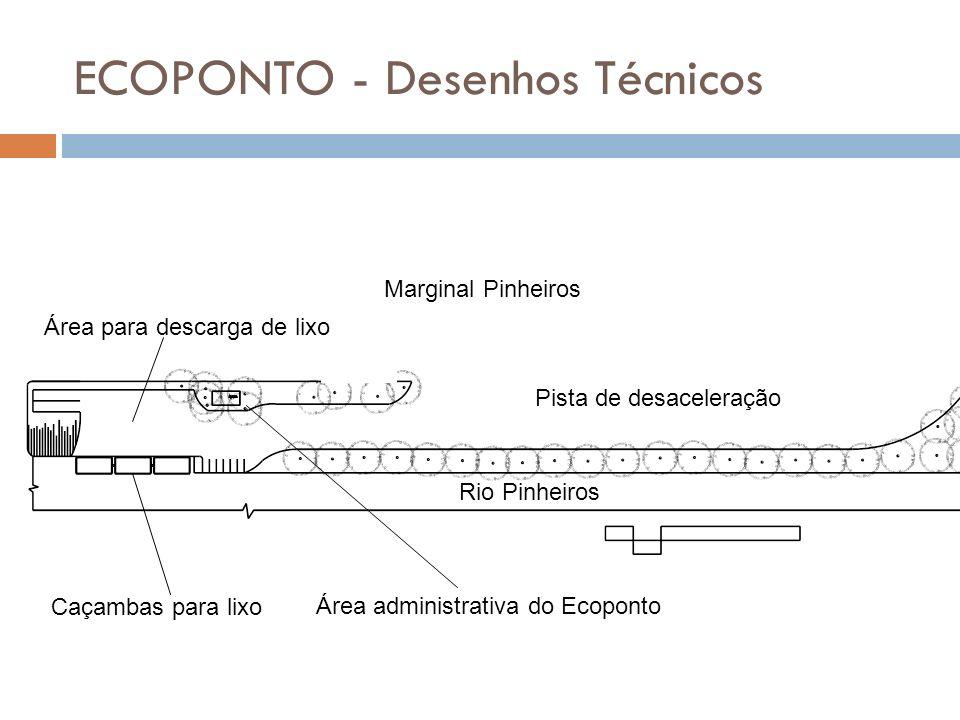 ECOPONTO - Desenhos Técnicos Marginal Pinheiros Rio Pinheiros Pista de desaceleração Caçambas para lixo Área para descarga de lixo Área administrativa
