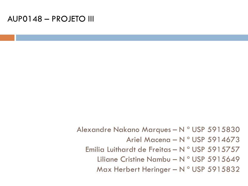 Alexandre Nakano Marques – N º USP 5915830 Ariel Macena – N º USP 5914673 Emilia Luithardt de Freitas – N º USP 5915757 Liliane Cristine Nambu – N º U