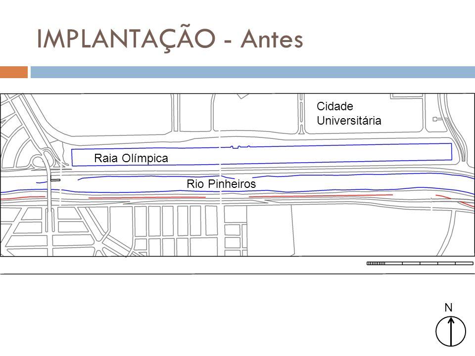 IMPLANTAÇÃO - Antes N Cidade Universitária Raia Olímpica Rio Pinheiros