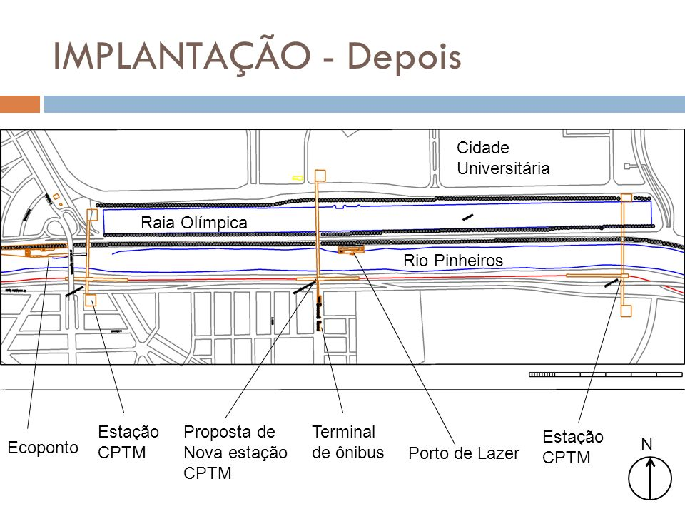 IMPLANTAÇÃO - Depois N Cidade Universitária Raia Olímpica Rio Pinheiros Ecoponto Estação CPTM Proposta de Nova estação CPTM Porto de Lazer Terminal de