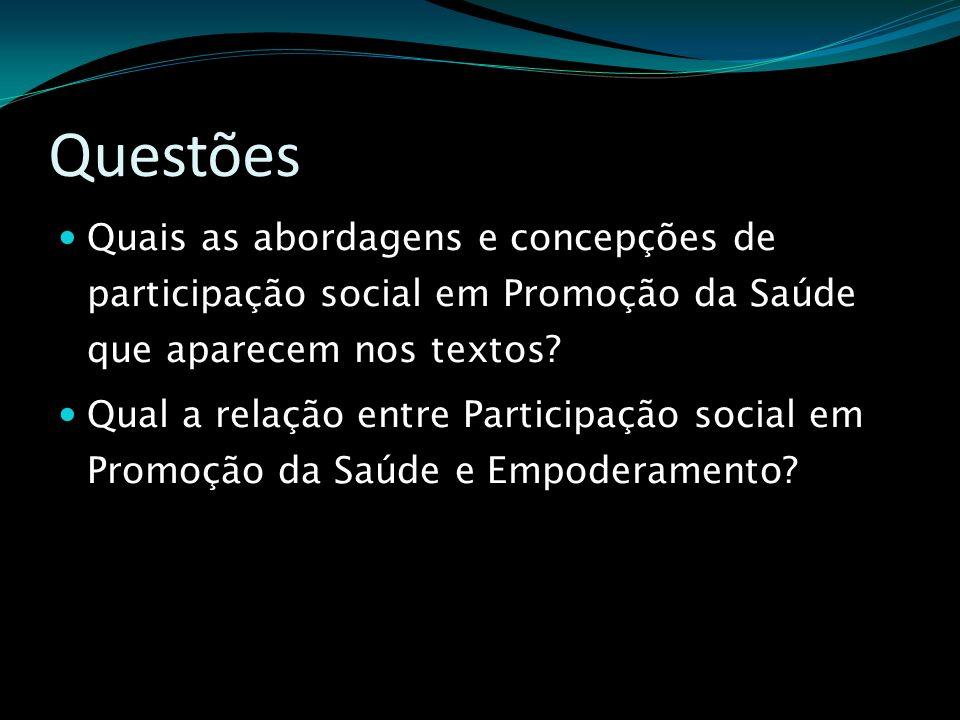 Questões Quais as abordagens e concepções de participação social em Promoção da Saúde que aparecem nos textos? Qual a relação entre Participação socia