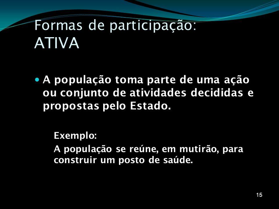 Formas de participação: ATIVA A população toma parte de uma ação ou conjunto de atividades decididas e propostas pelo Estado. Exemplo: A população se