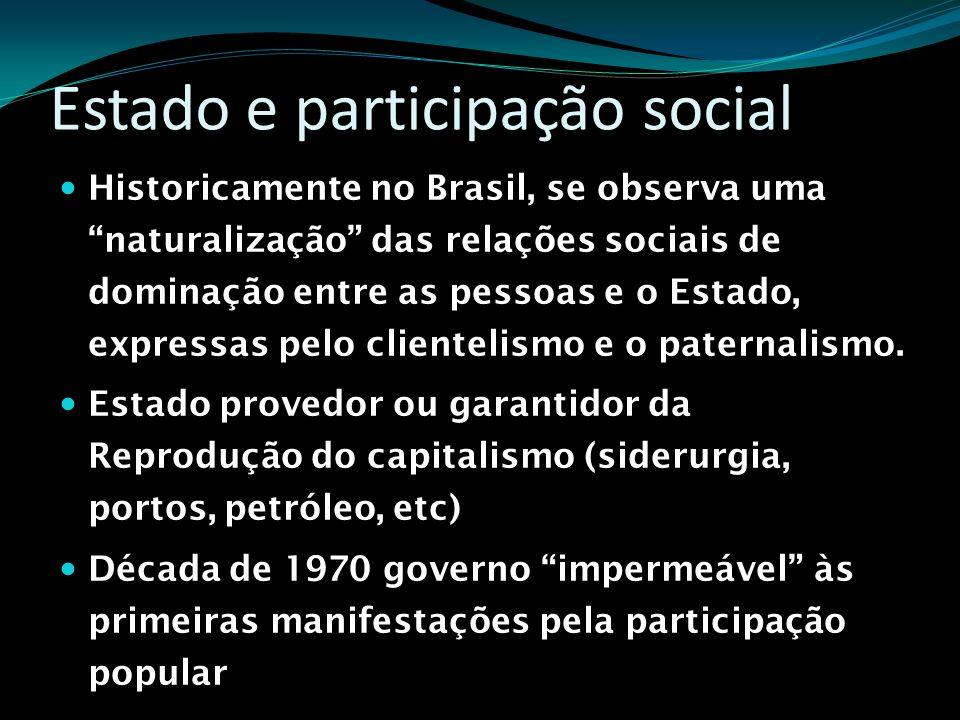 Estado e participação social Historicamente no Brasil, se observa uma naturalização das relações sociais de dominação entre as pessoas e o Estado, exp