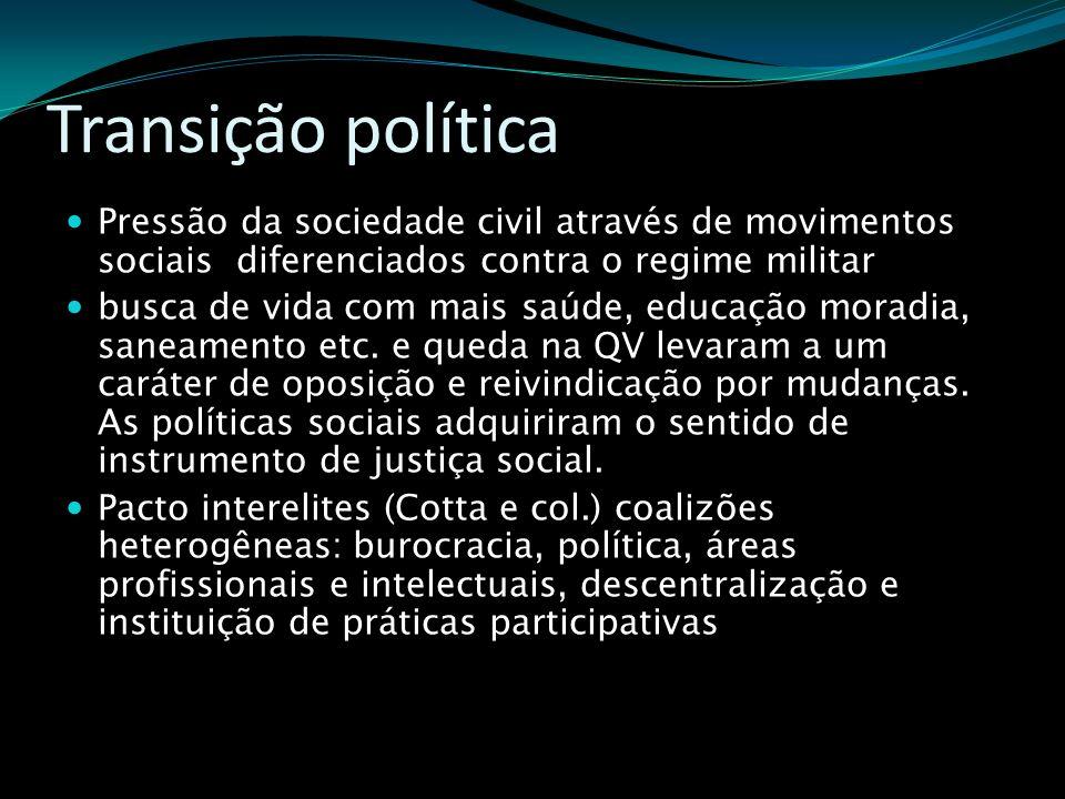 Transição política Pressão da sociedade civil através de movimentos sociais diferenciados contra o regime militar busca de vida com mais saúde, educaç