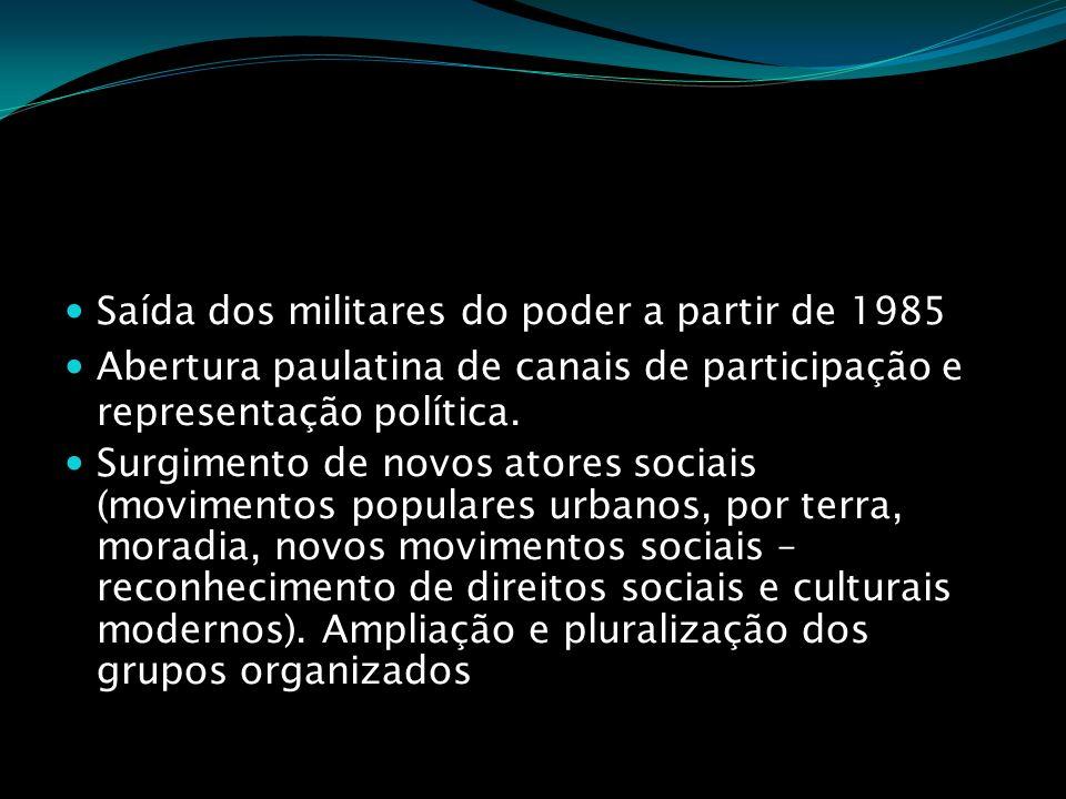 Saída dos militares do poder a partir de 1985 Abertura paulatina de canais de participação e representação política. Surgimento de novos atores sociai