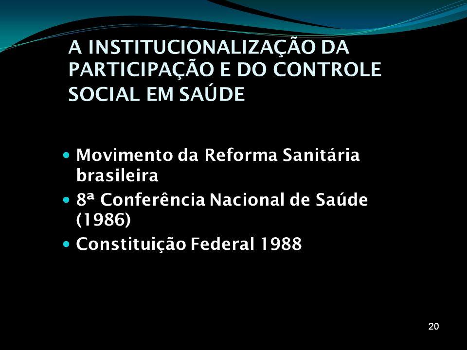 A INSTITUCIONALIZAÇÃO DA PARTICIPAÇÃO E DO CONTROLE SOCIAL EM SAÚDE Movimento da Reforma Sanitária brasileira 8ª Conferência Nacional de Saúde (1986)