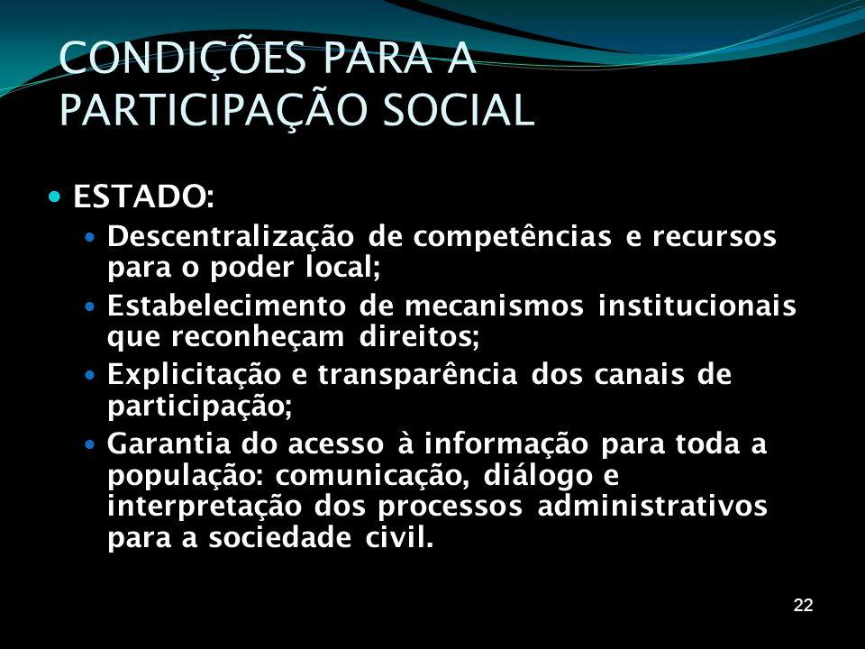 CONDIÇÕES PARA A PARTICIPAÇÃO SOCIAL ESTADO: Descentralização de competências e recursos para o poder local; Estabelecimento de mecanismos institucion