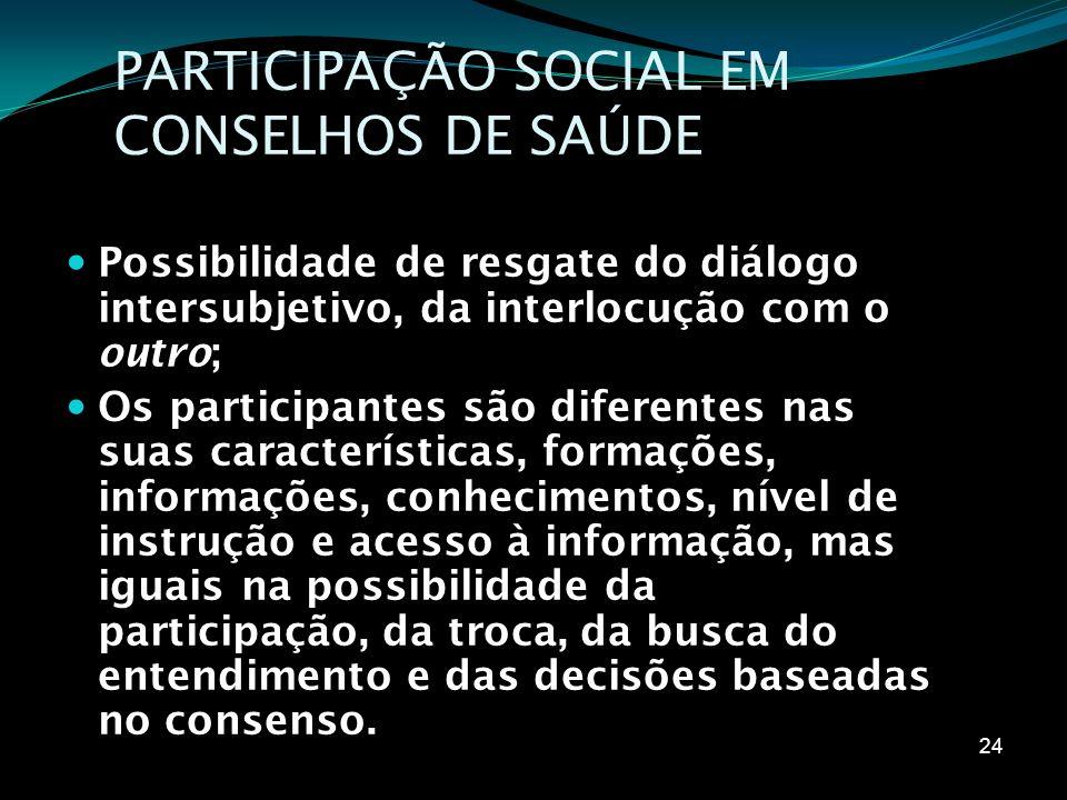 PARTICIPAÇÃO SOCIAL EM CONSELHOS DE SAÚDE Possibilidade de resgate do diálogo intersubjetivo, da interlocução com o outro; Os participantes são difere