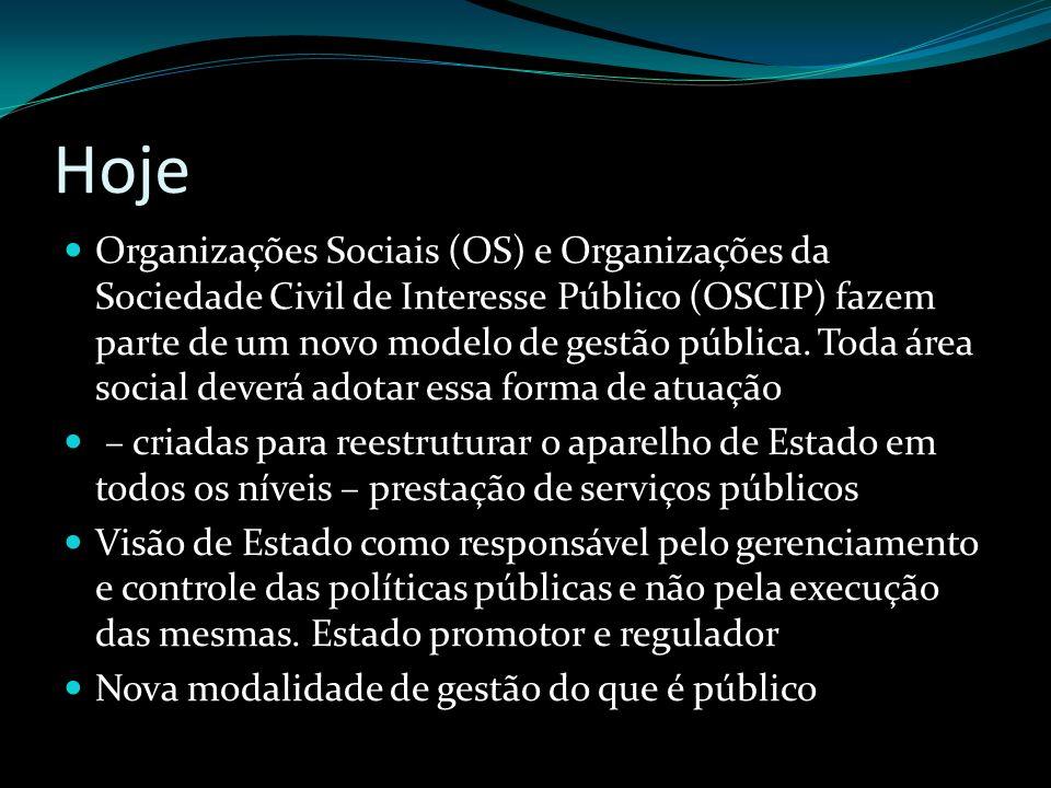 Hoje Organizações Sociais (OS) e Organizações da Sociedade Civil de Interesse Público (OSCIP) fazem parte de um novo modelo de gestão pública. Toda ár