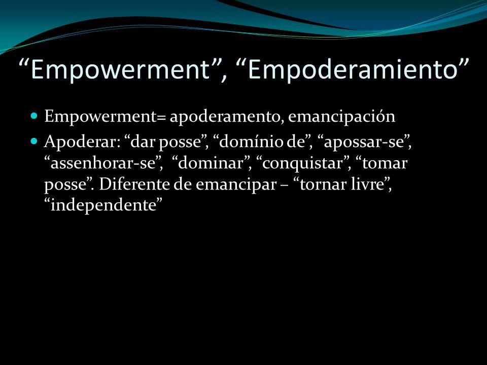 Empowerment, Empoderamiento Empowerment= apoderamento, emancipación Apoderar: dar posse, domínio de, apossar-se, assenhorar-se, dominar, conquistar, t