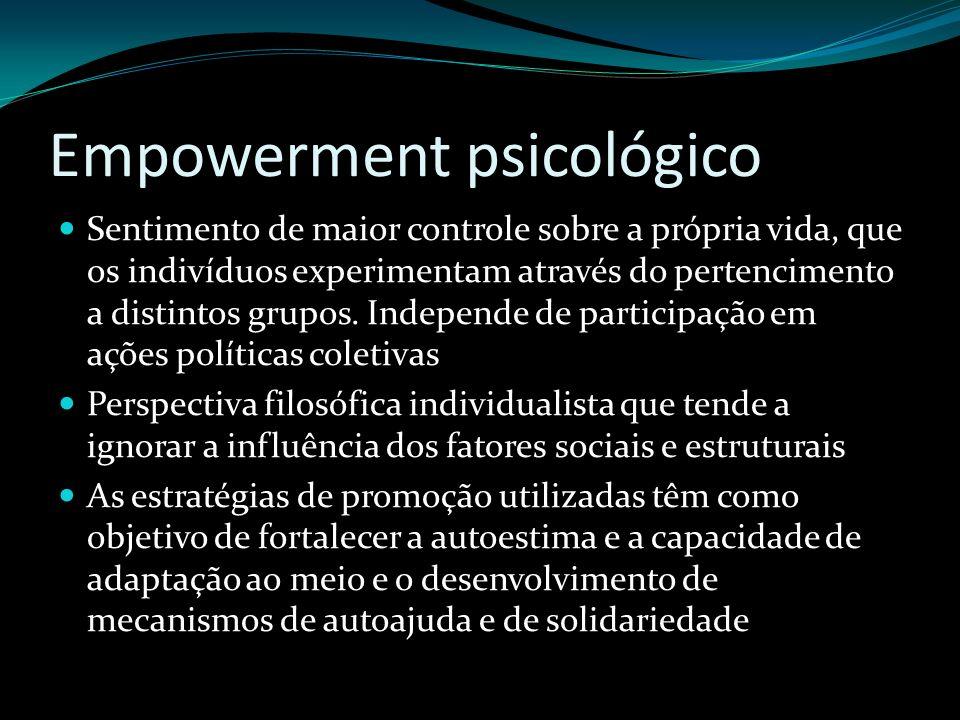Empowerment psicológico Sentimento de maior controle sobre a própria vida, que os indivíduos experimentam através do pertencimento a distintos grupos.