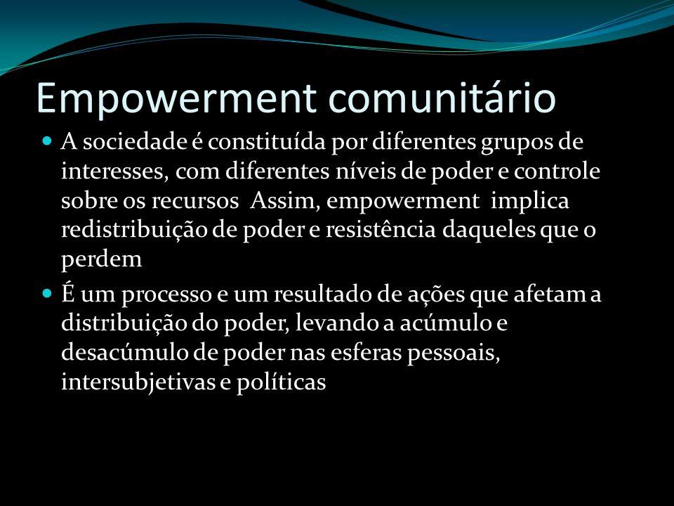Empowerment comunitário A sociedade é constituída por diferentes grupos de interesses, com diferentes níveis de poder e controle sobre os recursos Ass