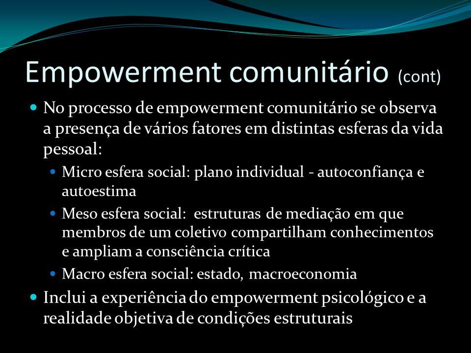 Empowerment comunitário (cont) No processo de empowerment comunitário se observa a presença de vários fatores em distintas esferas da vida pessoal: Mi