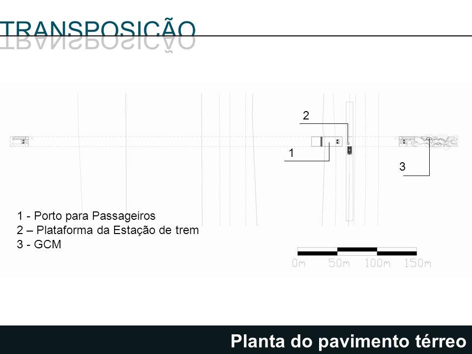 Planta do pavimento térreo 1 2 3 1 - Porto para Passageiros 2 – Plataforma da Estação de trem 3 - GCM