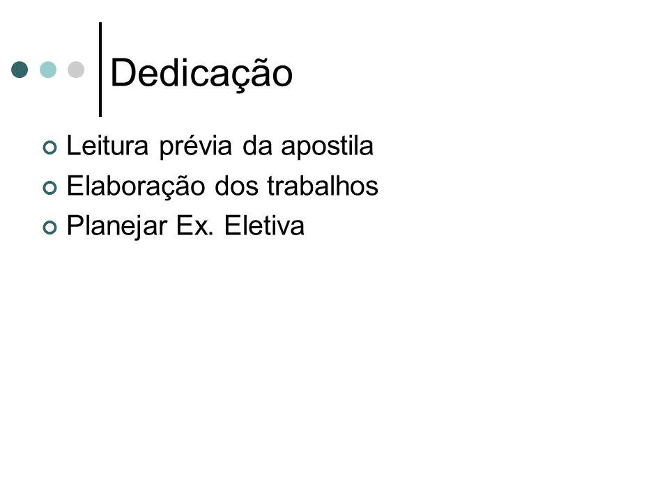 Dedicação Leitura prévia da apostila Elaboração dos trabalhos Planejar Ex. Eletiva