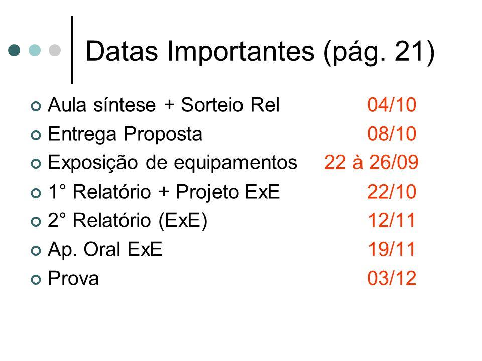 Datas Importantes (pág. 21) Aula síntese + Sorteio Rel 04/10 Entrega Proposta 08/10 Exposição de equipamentos 22 à 26/09 1° Relatório + Projeto ExE22/