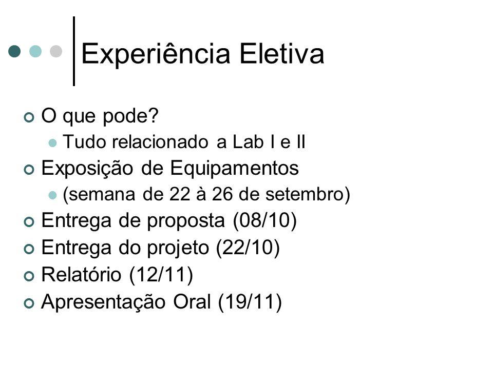 O que pode? Tudo relacionado a Lab I e II Exposição de Equipamentos (semana de 22 à 26 de setembro) Entrega de proposta (08/10) Entrega do projeto (22