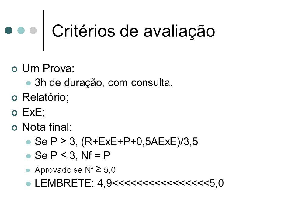 Critérios de avaliação Um Prova: 3h de duração, com consulta. Relatório; ExE; Nota final: Se P 3, (R+ExE+P+0,5AExE)/3,5 Se P 3, Nf = P Aprovado se Nf