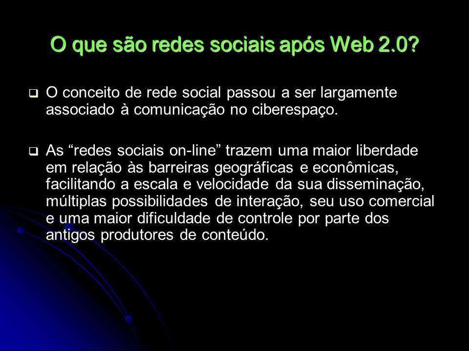 O que são redes sociais após Web 2.0? O conceito de rede social passou a ser largamente associado à comunicação no ciberespaço. As redes sociais on-li