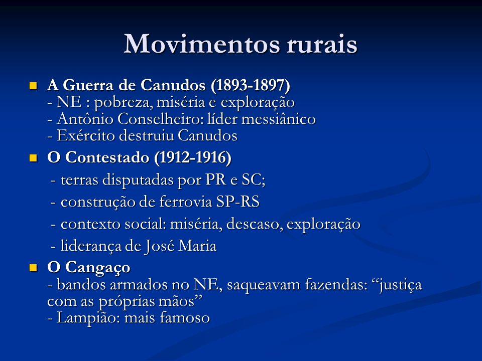 Movimentos rurais A Guerra de Canudos (1893-1897) - NE : pobreza, miséria e exploração - Antônio Conselheiro: líder messiânico - Exército destruiu Can