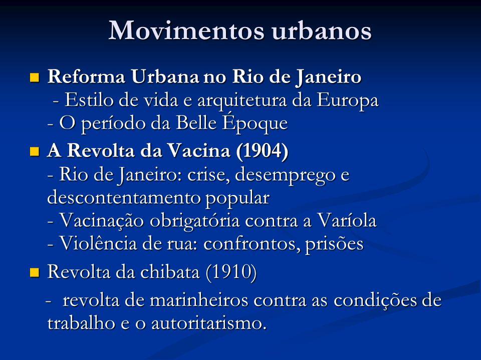 Movimentos urbanos Reforma Urbana no Rio de Janeiro - Estilo de vida e arquitetura da Europa - O período da Belle Époque Reforma Urbana no Rio de Jane