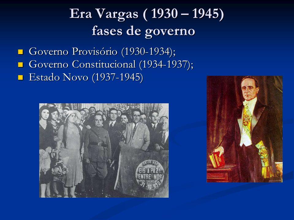 Era Vargas ( 1930 – 1945) fases de governo Era Vargas ( 1930 – 1945) fases de governo Governo Provisório (1930-1934); Governo Provisório (1930-1934);