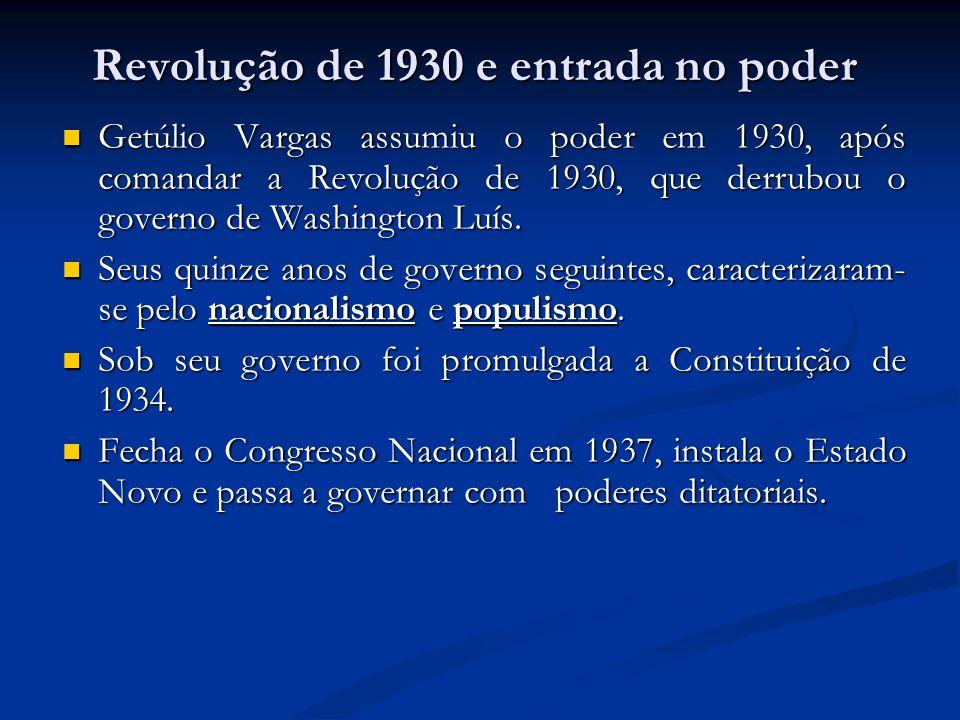 Getúlio Vargas assumiu o poder em 1930, após comandar a Revolução de 1930, que derrubou o governo de Washington Luís. Getúlio Vargas assumiu o poder e