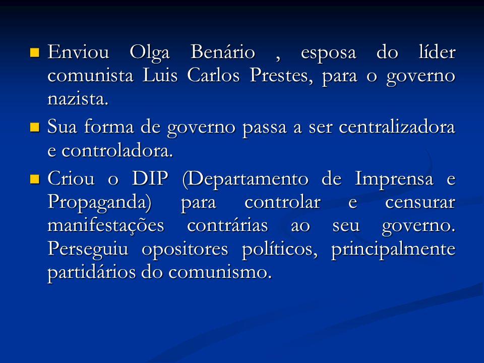 Enviou Olga Benário, esposa do líder comunista Luis Carlos Prestes, para o governo nazista. Enviou Olga Benário, esposa do líder comunista Luis Carlos