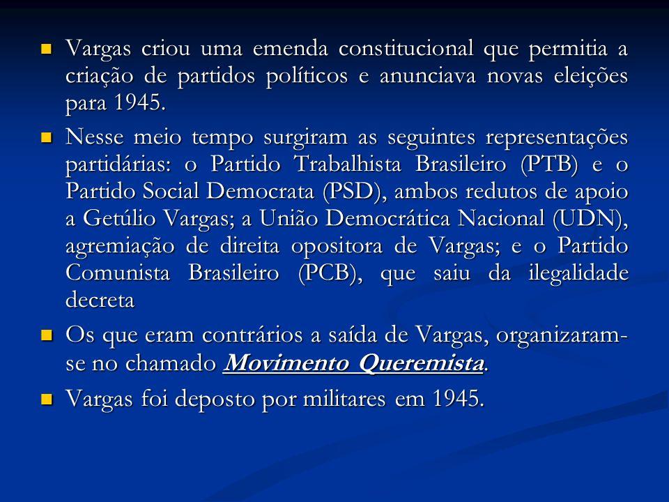 Vargas criou uma emenda constitucional que permitia a criação de partidos políticos e anunciava novas eleições para 1945. Vargas criou uma emenda cons