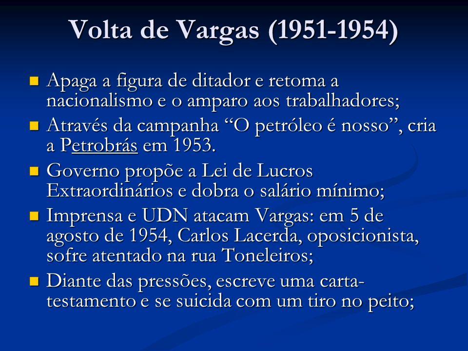 Volta de Vargas (1951-1954) Apaga a figura de ditador e retoma a nacionalismo e o amparo aos trabalhadores; Apaga a figura de ditador e retoma a nacio