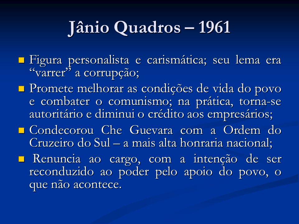Jânio Quadros – 1961 Figura personalista e carismática; seu lema era varrer a corrupção; Figura personalista e carismática; seu lema era varrer a corr