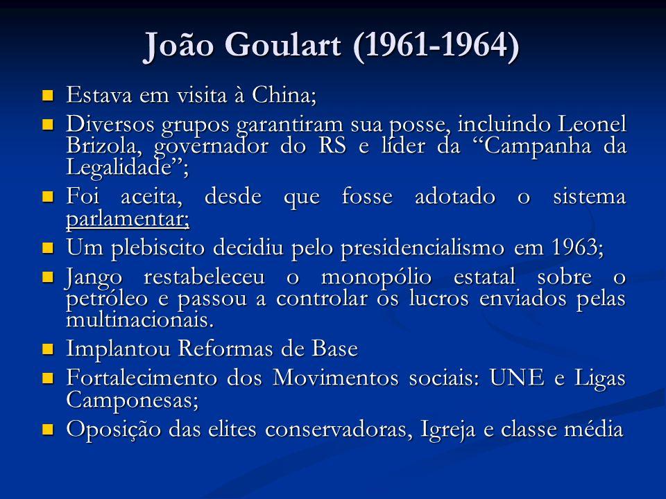 João Goulart (1961-1964) Estava em visita à China; Estava em visita à China; Diversos grupos garantiram sua posse, incluindo Leonel Brizola, governado