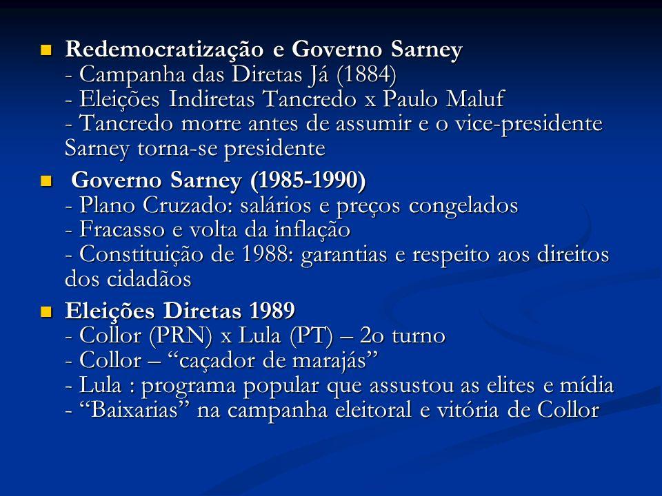 Redemocratização e Governo Sarney - Campanha das Diretas Já (1884) - Eleições Indiretas Tancredo x Paulo Maluf - Tancredo morre antes de assumir e o v