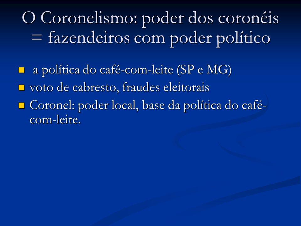 O Coronelismo: poder dos coronéis = fazendeiros com poder político a política do café-com-leite (SP e MG) a política do café-com-leite (SP e MG) voto