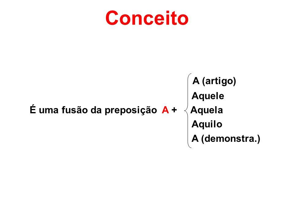 Conceito A (artigo) Aquele É uma fusão da preposição A + Aquela Aquilo A (demonstra.)