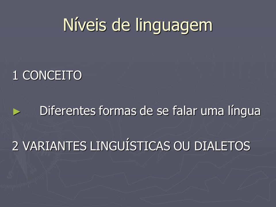 Níveis de linguagem 1 CONCEITO Diferentes formas de se falar uma língua Diferentes formas de se falar uma língua 2 VARIANTES LINGUÍSTICAS OU DIALETOS