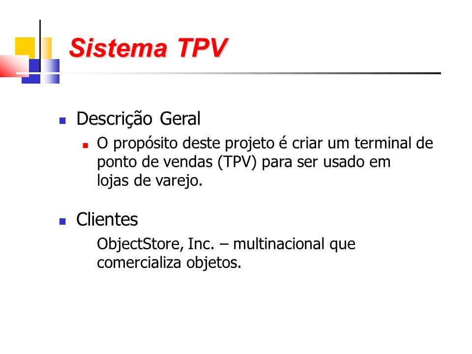 Descrição Geral O propósito deste projeto é criar um terminal de ponto de vendas (TPV) para ser usado em lojas de varejo.