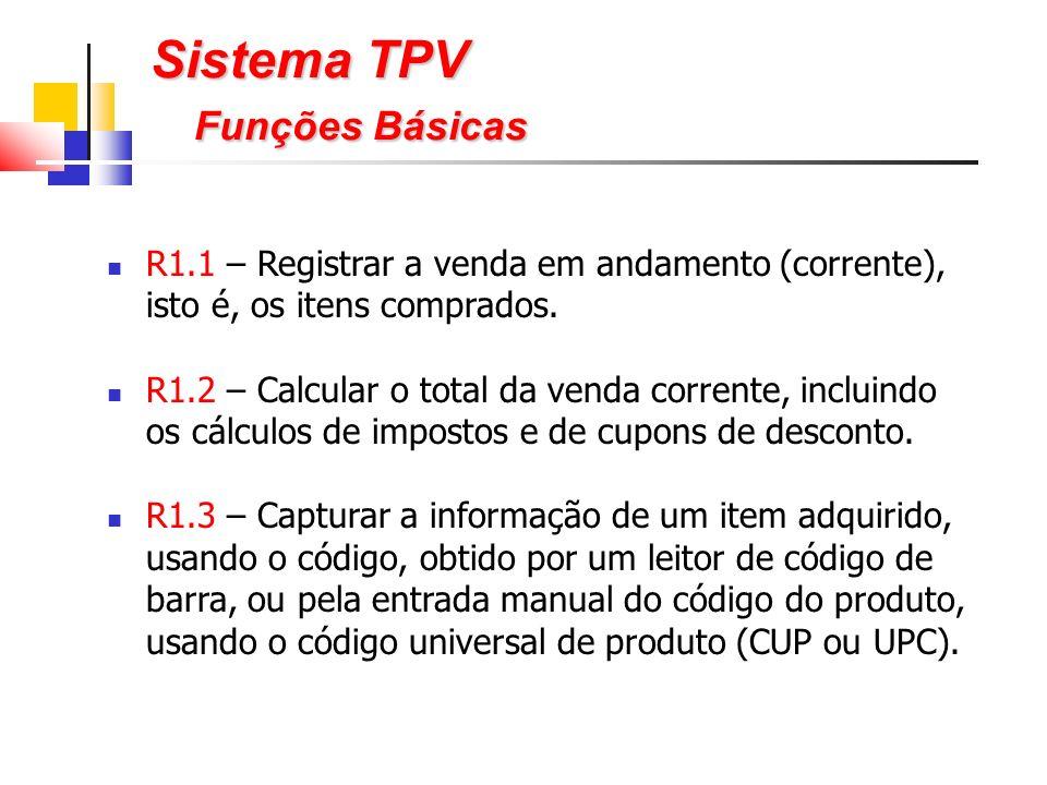 Sistema TPV Funções Básicas R1.1 – Registrar a venda em andamento (corrente), isto é, os itens comprados.