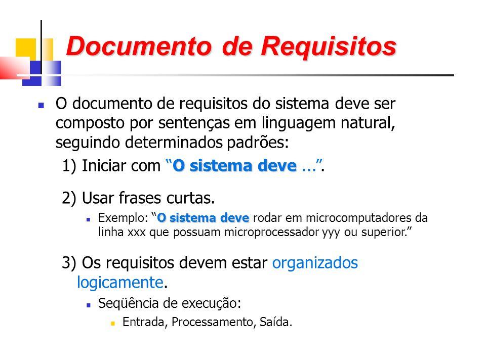 O documento de requisitos do sistema deve ser composto por sentenças em linguagem natural, seguindo determinados padrões: O sistema deve 1) Iniciar com O sistema deve....