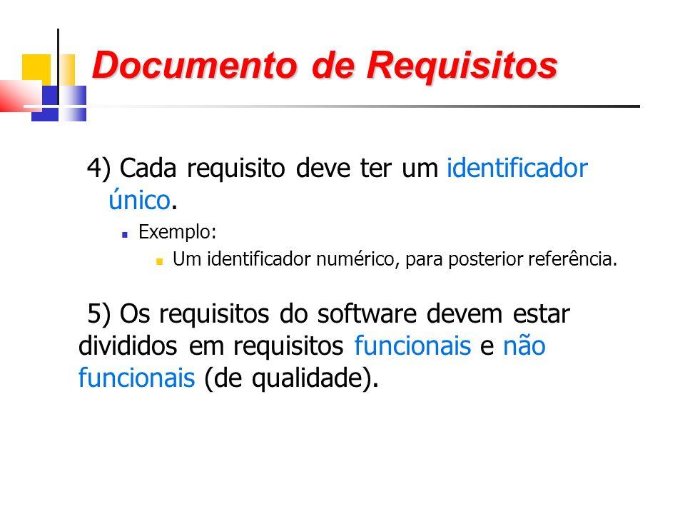 4) Cada requisito deve ter um identificador único.