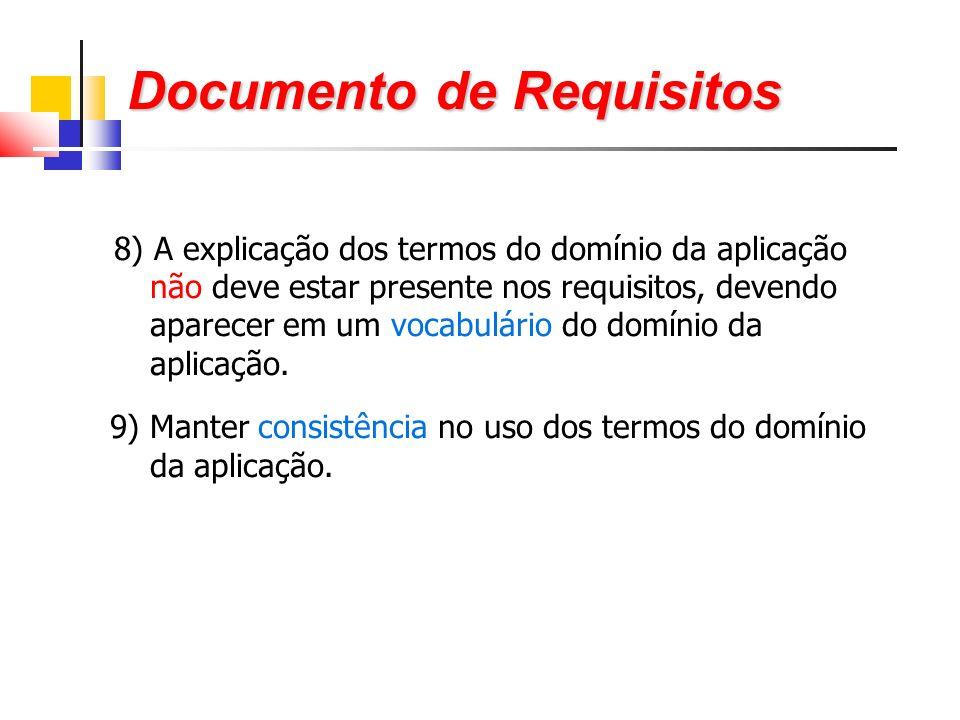 Documento de Requisitos 8) A explicação dos termos do domínio da aplicação não deve estar presente nos requisitos, devendo aparecer em um vocabulário do domínio da aplicação.