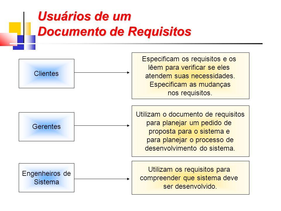 Usuários de um Documento de Requisitos Especificam os requisitos e os lêem para verificar se eles atendem suas necessidades.