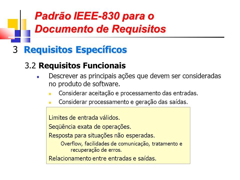 Padrão IEEE-830 para o Documento de Requisitos Requisitos Específicos 3 Requisitos Específicos 3.2 Requisitos Funcionais Descrever as principais ações que devem ser consideradas no produto de software.