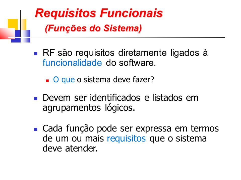 Requisitos Funcionais (Funções do Sistema) RF são requisitos diretamente ligados à funcionalidade do software.