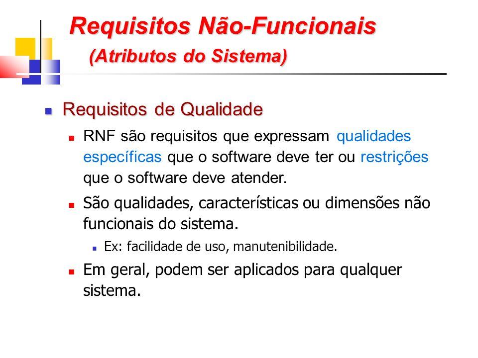 Requisitos Não-Funcionais (Atributos do Sistema) Requisitos de Qualidade Requisitos de Qualidade RNF são requisitos que expressam qualidades específicas que o software deve ter ou restrições que o software deve atender.