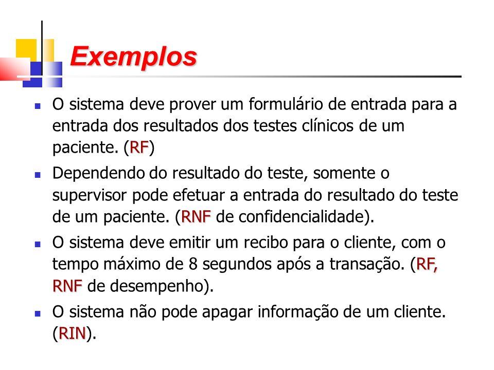 RF O sistema deve prover um formulário de entrada para a entrada dos resultados dos testes clínicos de um paciente.